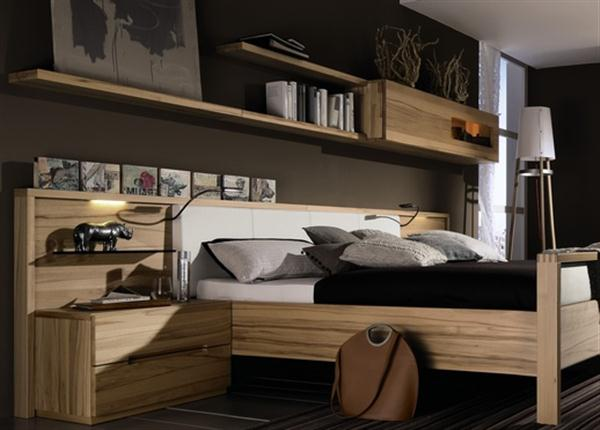 Wall Mounted Shelf Contemporary Natural Bedroom Interior